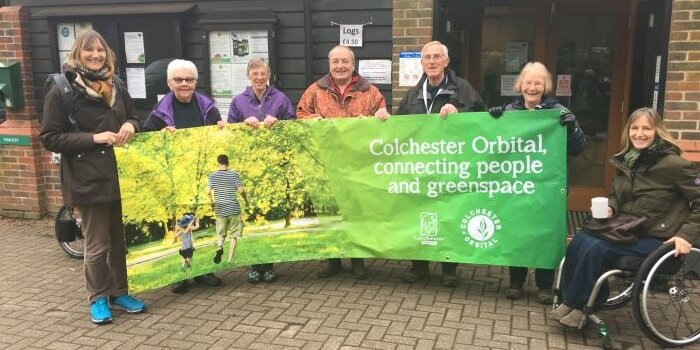 Colchester Orbital walkers with banner