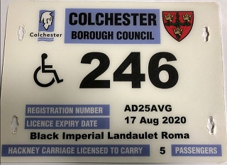 White hackney carriage license