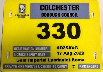 Yellow private hire vehicle license
