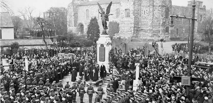 Historical Remembrance Sunday ceremony in Colchester town