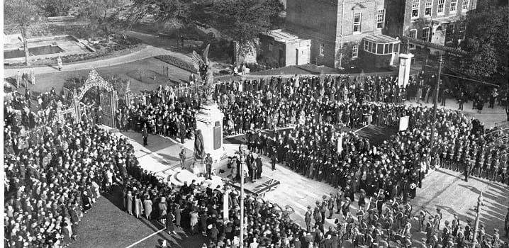 Historical Remembrance Sunday ceremony at Colchester War Memorial