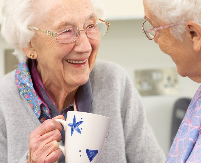 An elderly lady talking to another elderly lady.