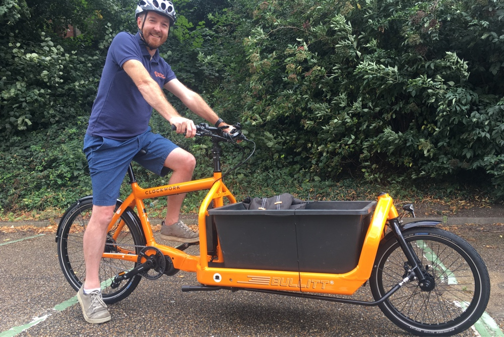 An electric cargo bike is an electric delivery bike with purpose-built storage.